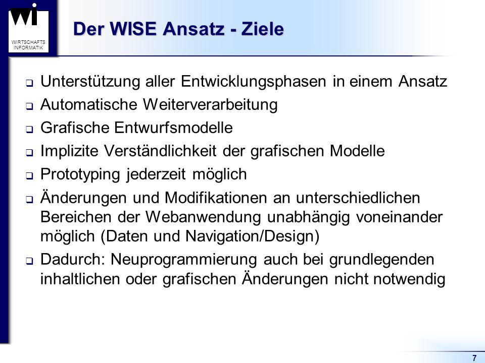 7 WIRTSCHAFTS INFORMATIK Der WISE Ansatz - Ziele  Unterstützung aller Entwicklungsphasen in einem Ansatz  Automatische Weiterverarbeitung  Grafisch