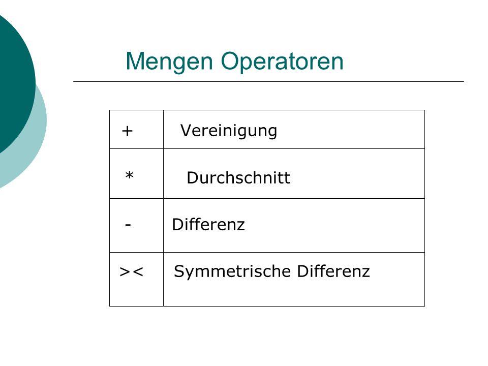 Mengen Operatoren + Vereinigung * Durchschnitt - Differenz >< Symmetrische Differenz