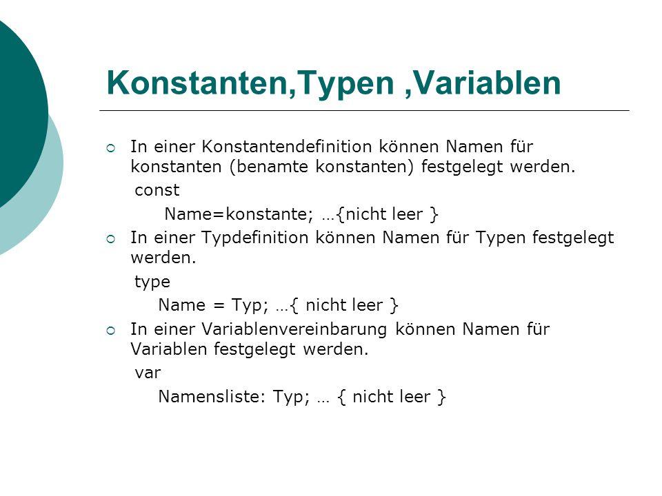 Konstanten,Typen,Variablen  In einer Konstantendefinition können Namen für konstanten (benamte konstanten) festgelegt werden.