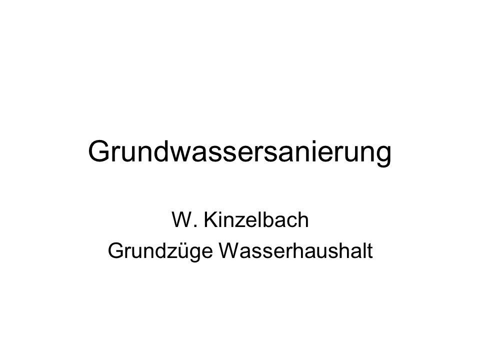 Grundwassersanierung W. Kinzelbach Grundzüge Wasserhaushalt