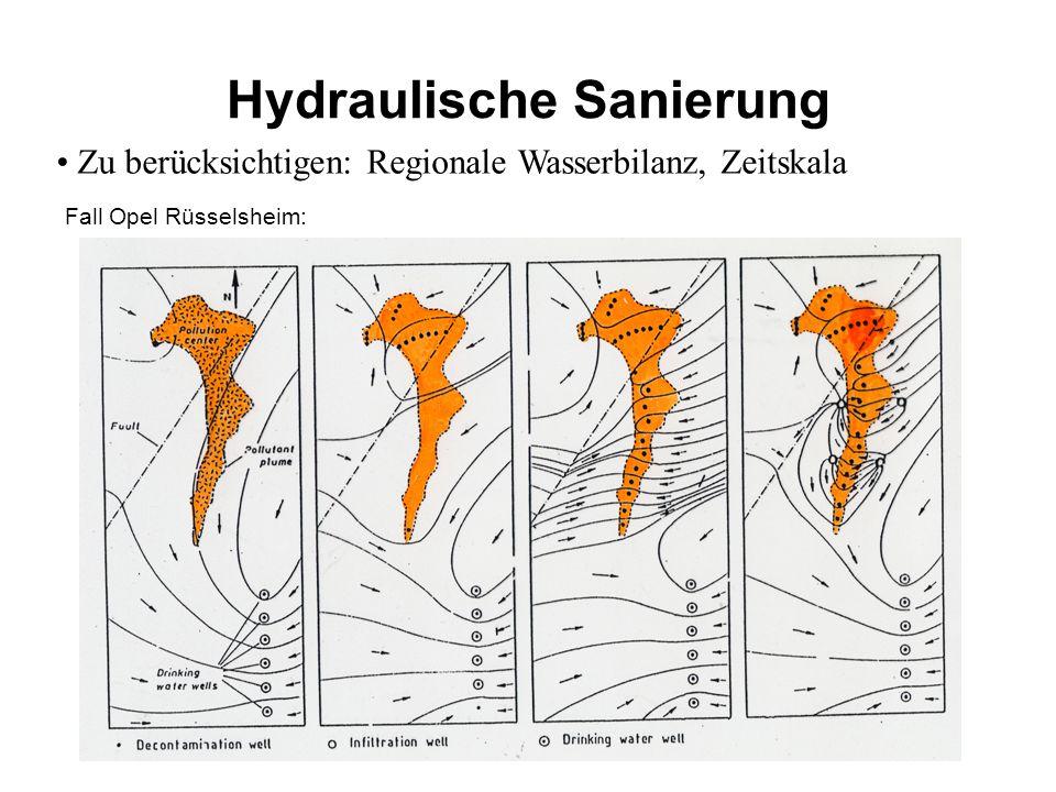 Hydraulische Sanierung Zu berücksichtigen: Regionale Wasserbilanz, Zeitskala Fall Opel Rüsselsheim: