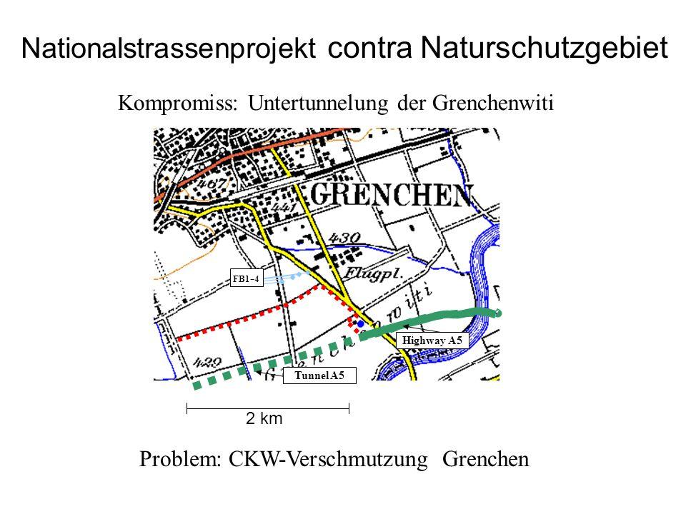 Problem: CKW-Verschmutzung Grenchen Highway A5 FB1 - 4 Tunnel A5 Nationalstrassenprojekt contra Naturschutzgebiet 2 km Kompromiss: Untertunnelung der