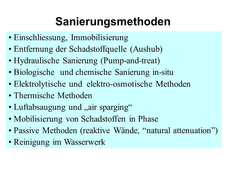 Sanierungsmethoden Einschliessung, Immobilisierung Entfernung der Schadstoffquelle (Aushub) Hydraulische Sanierung (Pump-and-treat) Biologische und ch