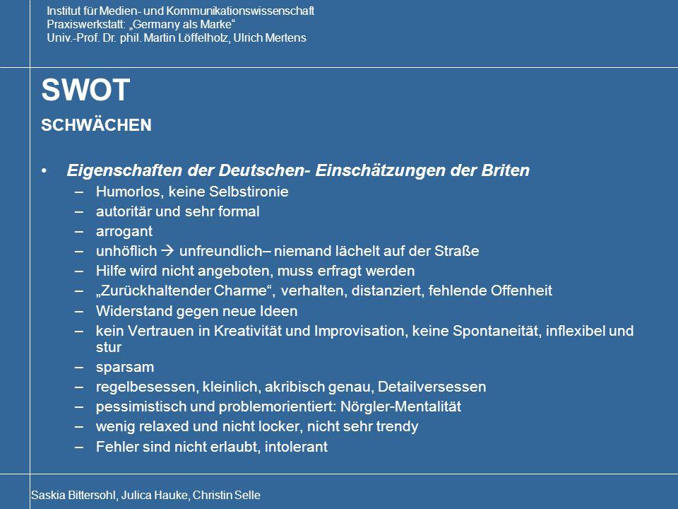 """Institut für Medien- und Kommunikationswissenschaft Praxiswerkstatt: """"Germany als Marke Univ.-Prof."""