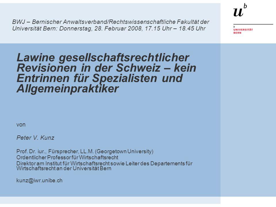 72 Schlussbemerkungen 1.Fokus auf Körperschaften Tradition… AG-Revision + GmbH-Revision + neues Revisionsrecht neue spezialgesetzliche AG gemäss KAG = SICAV EU – ebenfalls AG im Fokus (z.B.