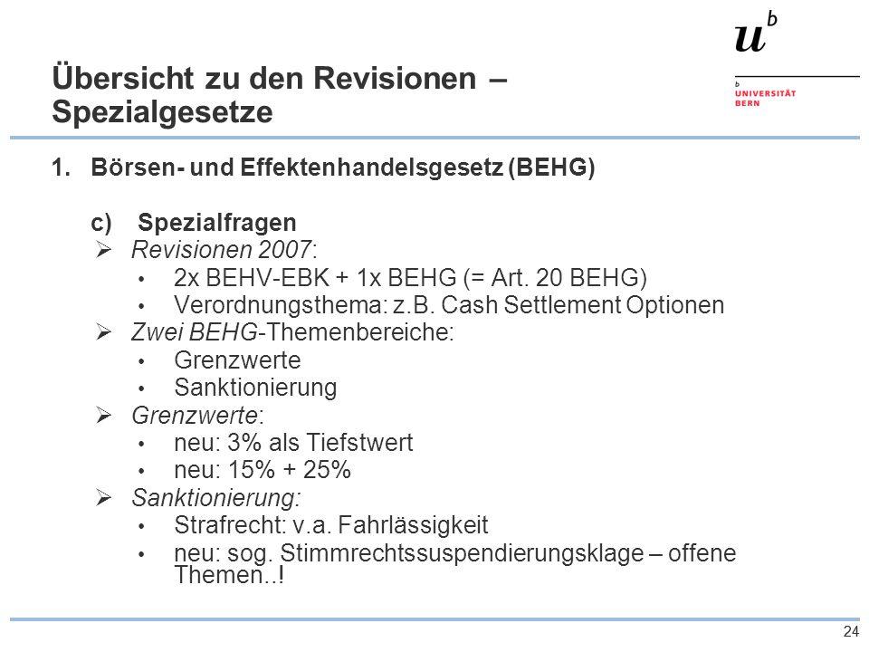 24 Übersicht zu den Revisionen – Spezialgesetze 1.Börsen- und Effektenhandelsgesetz (BEHG) c)Spezialfragen  Revisionen 2007: 2x BEHV-EBK + 1x BEHG (= Art.
