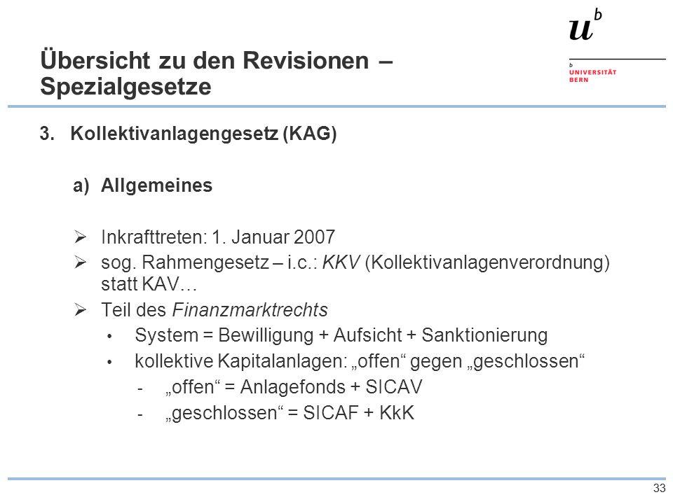 33 Übersicht zu den Revisionen – Spezialgesetze 3.Kollektivanlagengesetz (KAG) a)Allgemeines  Inkrafttreten: 1.