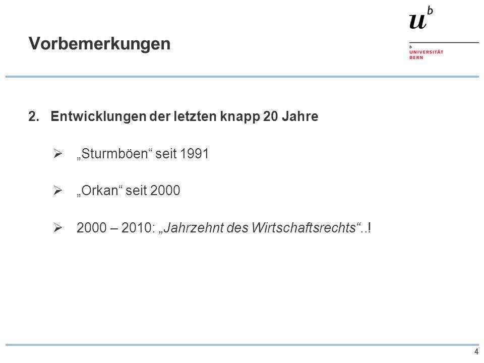 55 Übersicht zu den Revisionen – OR- Revisionen 2.Neues GmbH-Recht c)Spezialfragen  Entwicklung der Zahlen 1955: 1 539; 1970: 2 776; 1985: 2 859; 1992: 2 964; 1993: 4 186; 1995: 10 705; 1997: 23 164; 2000: 46 035; 2002: 61 44 2006: 92'448 heute = über 113'000 GmbH (Stand Ende 2007)  Konkurrenz für andere Gesellschaftsformen AG: z.B.