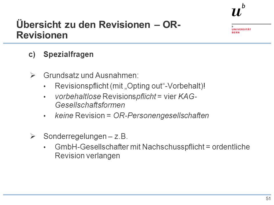"""51 Übersicht zu den Revisionen – OR- Revisionen c)Spezialfragen  Grundsatz und Ausnahmen: Revisionspflicht (mit """"Opting out -Vorbehalt)."""