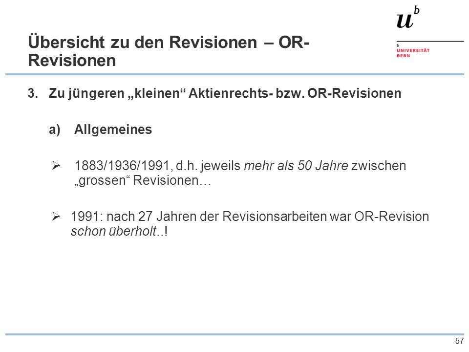 """57 Übersicht zu den Revisionen – OR- Revisionen 3.Zu jüngeren """"kleinen Aktienrechts- bzw."""
