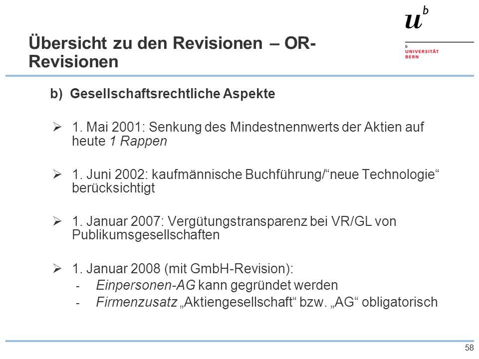 58 Übersicht zu den Revisionen – OR- Revisionen b) Gesellschaftsrechtliche Aspekte  1.