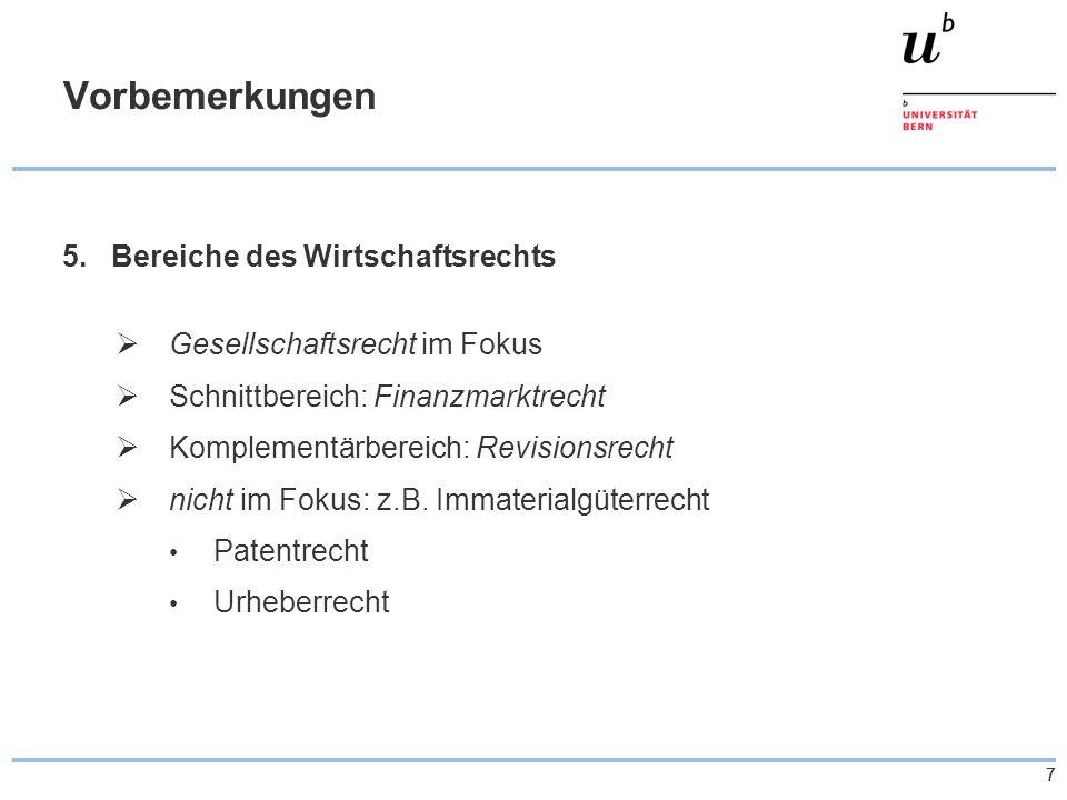 38 Übersicht zu den Revisionen – Spezialgesetze c)Spezialfragen Problembereich des GwG: - Verhältnis zwischen AG/Aktionär nicht GwG-tauglich...