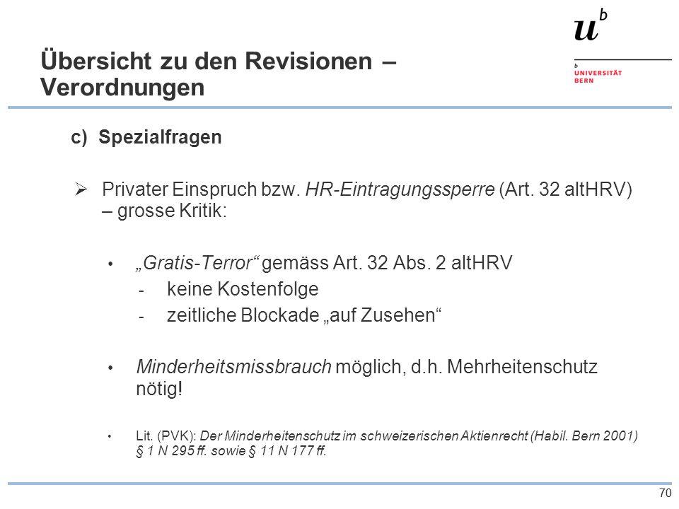 70 Übersicht zu den Revisionen – Verordnungen c) Spezialfragen  Privater Einspruch bzw.