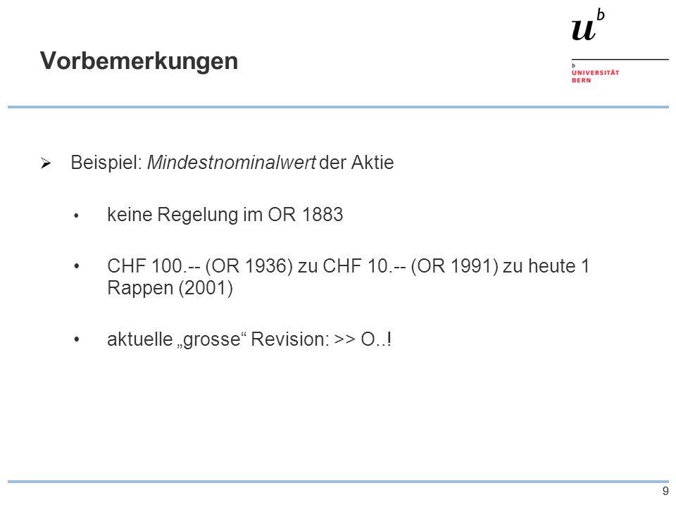 """99 Vorbemerkungen  Beispiel: Mindestnominalwert der Aktie keine Regelung im OR 1883 CHF 100.-- (OR 1936) zu CHF 10.-- (OR 1991) zu heute 1 Rappen (2001) aktuelle """"grosse Revision: >> O..!"""