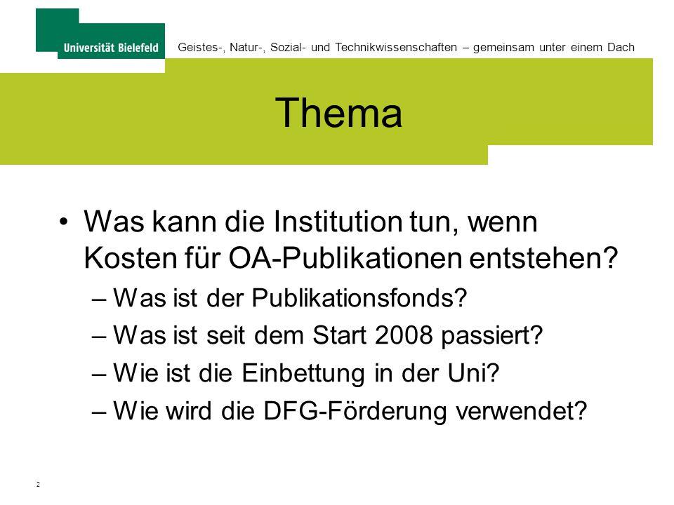 2 Thema Was kann die Institution tun, wenn Kosten für OA-Publikationen entstehen.
