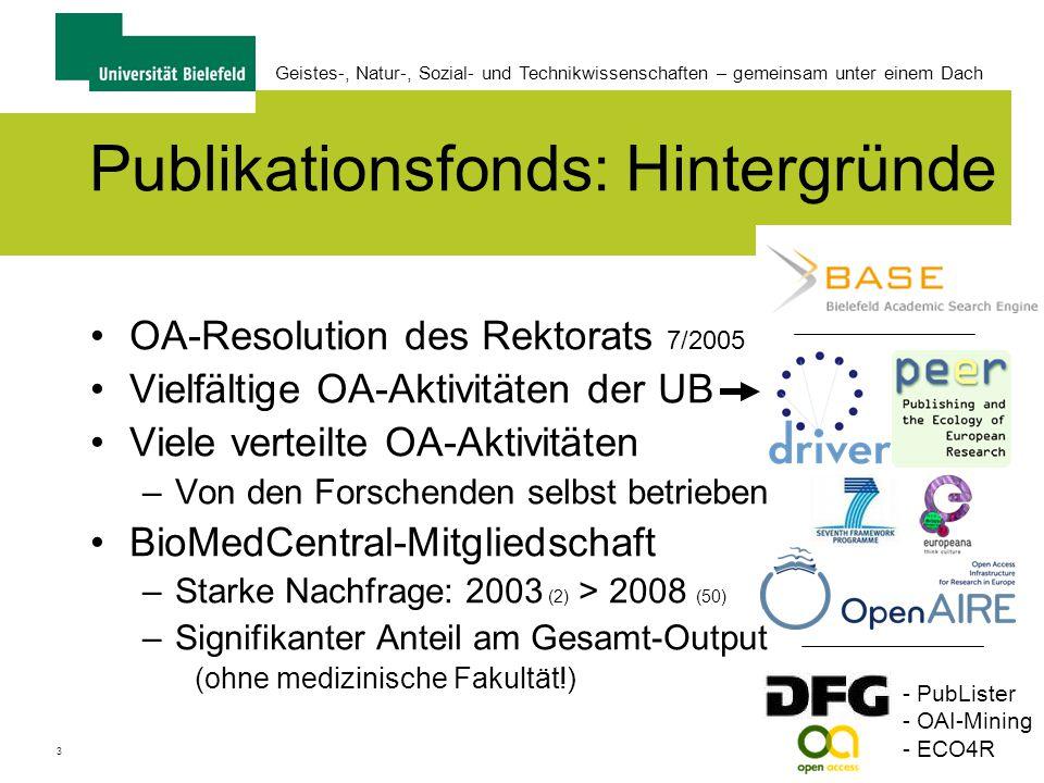 3 Geistes-, Natur-, Sozial- und Technikwissenschaften – gemeinsam unter einem Dach Publikationsfonds: Hintergründe OA-Resolution des Rektorats 7/2005 Vielfältige OA-Aktivitäten der UB Viele verteilte OA-Aktivitäten –Von den Forschenden selbst betrieben BioMedCentral-Mitgliedschaft –Starke Nachfrage: 2003 (2) > 2008 (50) –Signifikanter Anteil am Gesamt-Output (ohne medizinische Fakultät!) - PubLister - OAI-Mining - ECO4R