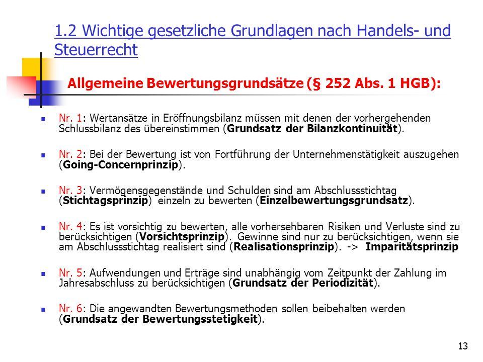 13 Allgemeine Bewertungsgrundsätze (§ 252 Abs. 1 HGB): Nr. 1: Wertansätze in Eröffnungsbilanz müssen mit denen der vorhergehenden Schlussbilanz des üb