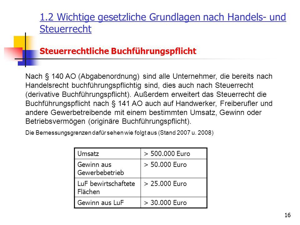 16 1.2 Wichtige gesetzliche Grundlagen nach Handels- und Steuerrecht Steuerrechtliche Buchführungspflicht Nach § 140 AO (Abgabenordnung) sind alle Unt