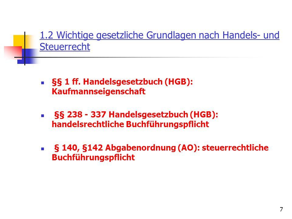 8 Handelsrechtliche Buchführungspflicht Jeder Kaufmann ist in der Bundesrepublik Deutschland nach § 238 HGB verpflichtet, Bücher nach den Grundsätzen ordnungsgemäßer Buchhaltung und Bilanzierung zu führen, um die Vermögens- und Ertragslage seiner Wirtschaftsunternehmung z.B.