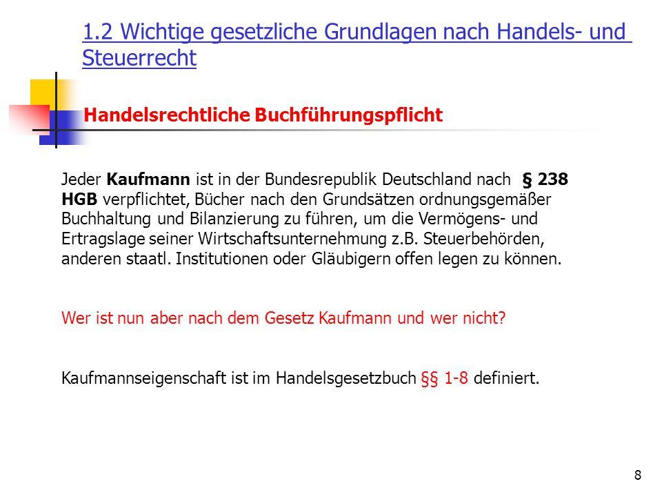 8 Handelsrechtliche Buchführungspflicht Jeder Kaufmann ist in der Bundesrepublik Deutschland nach § 238 HGB verpflichtet, Bücher nach den Grundsätzen