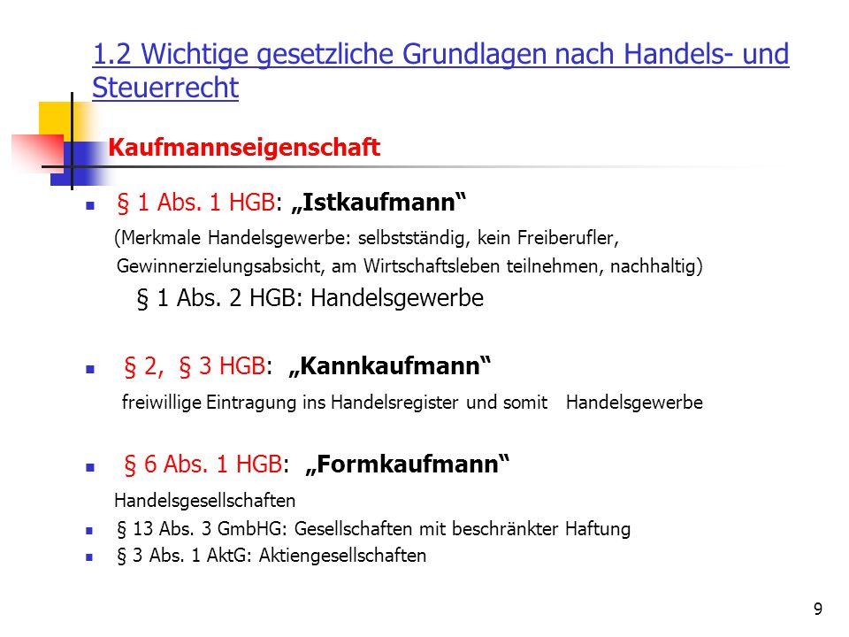 """9 Kaufmannseigenschaft 1.2 Wichtige gesetzliche Grundlagen nach Handels- und Steuerrecht § 1 Abs. 1 HGB: """"Istkaufmann"""" (Merkmale Handelsgewerbe: selbs"""