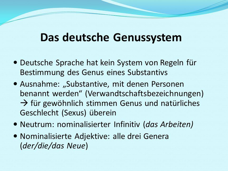 """Das deutsche Genussystem Deutsche Sprache hat kein System von Regeln für Bestimmung des Genus eines Substantivs Ausnahme: """"Substantive, mit denen Pers"""