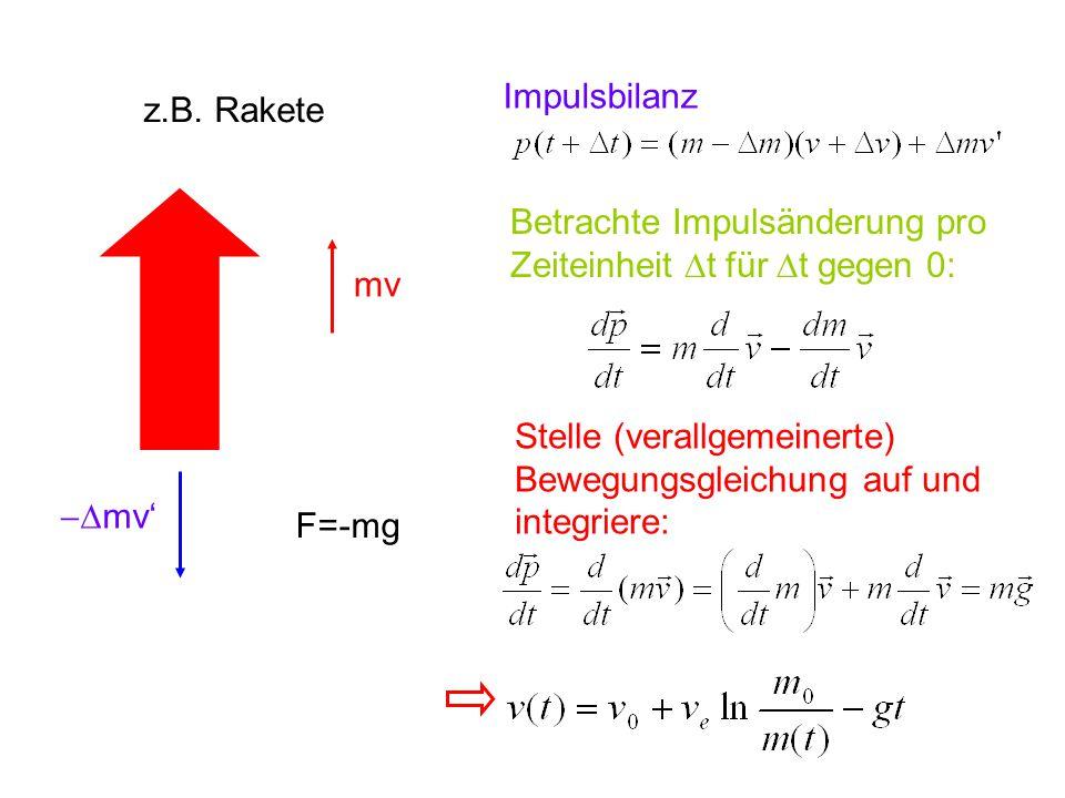z.B. Rakete mv  mv' F=-mg Impulsbilanz Betrachte Impulsänderung pro Zeiteinheit  t für  t gegen 0: Stelle (verallgemeinerte) Bewegungsgleichung au