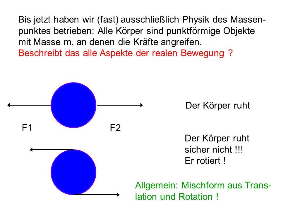 Bis jetzt haben wir (fast) ausschließlich Physik des Massen- punktes betrieben: Alle Körper sind punktförmige Objekte mit Masse m, an denen die Kräfte