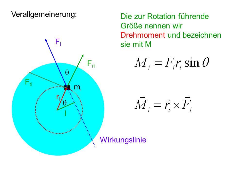 Verallgemeinerung: mimi FiFi riri Wirkungslinie l  F ri F ti  Die zur Rotation führende Größe nennen wir Drehmoment und bezeichnen sie mit M