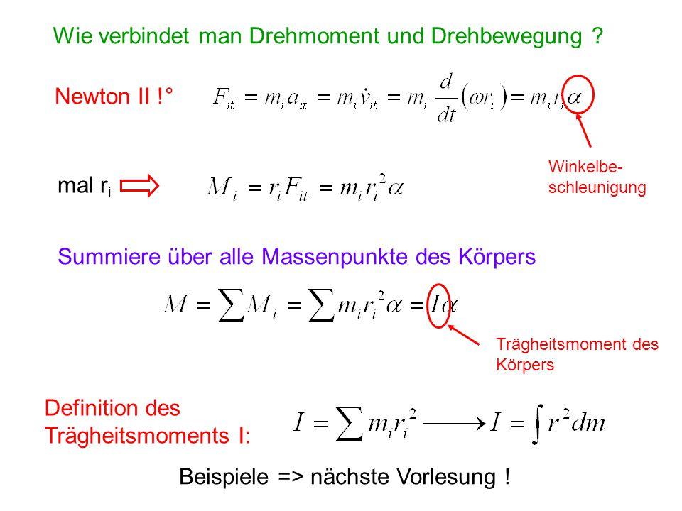 Wie verbindet man Drehmoment und Drehbewegung ? Newton II !° Winkelbe- schleunigung mal r i Summiere über alle Massenpunkte des Körpers Trägheitsmomen