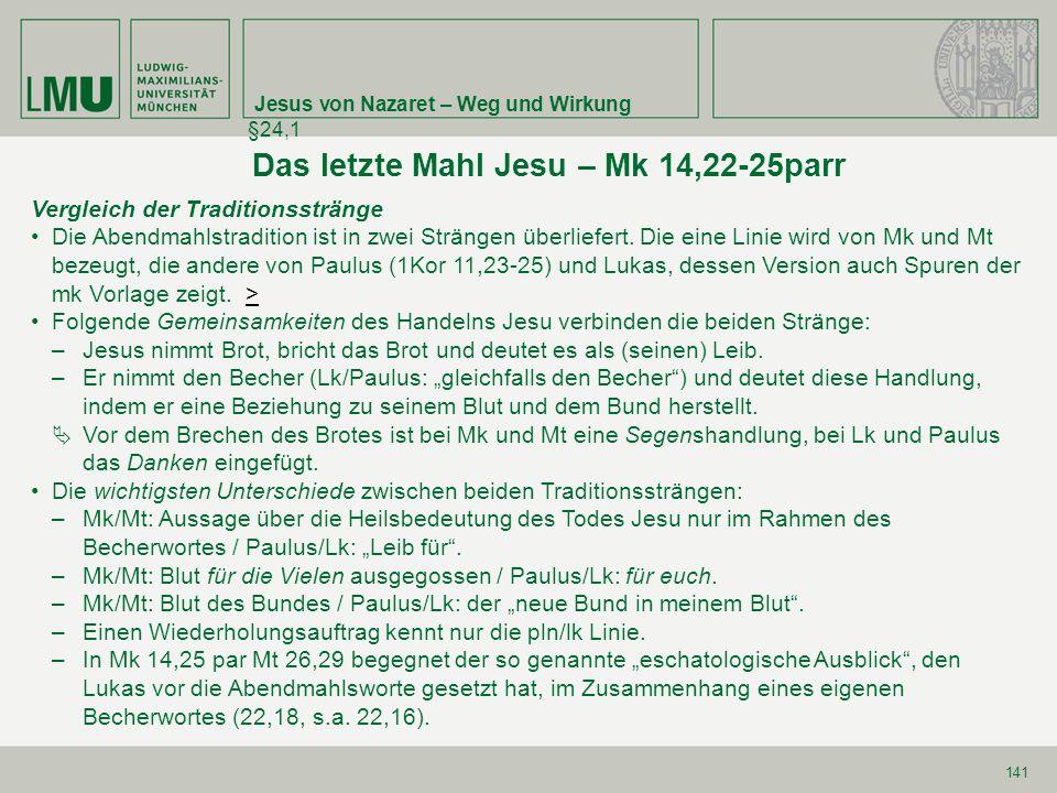 Jesus von Nazaret – Weg und Wirkung §24,1 141 Das letzte Mahl Jesu – Mk 14,22-25parr Vergleich der Traditionsstränge Die Abendmahlstradition ist in zw