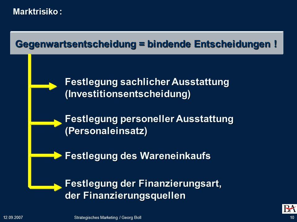 12.09.2007Strategisches Marketing / Georg Boll10 Marktrisiko : Gegenwartsentscheidung = bindende Entscheidungen .