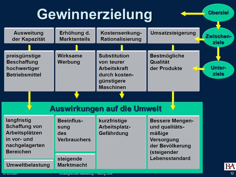 12.09.2007Strategisches Marketing / Georg Boll12 Gewinnerzielung Ausweitung der Kapazität Erhöhung d.