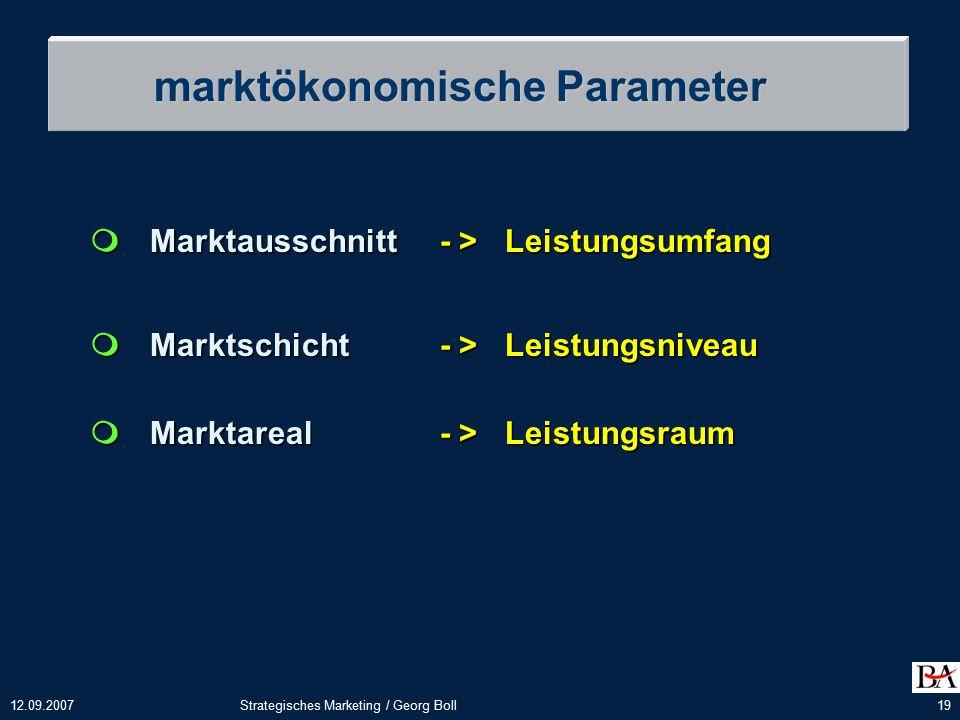 12.09.2007Strategisches Marketing / Georg Boll19  Marktausschnitt - > Leistungsumfang  Marktschicht - > Leistungsniveau  Marktareal - > Leistungsraum marktökonomische Parameter