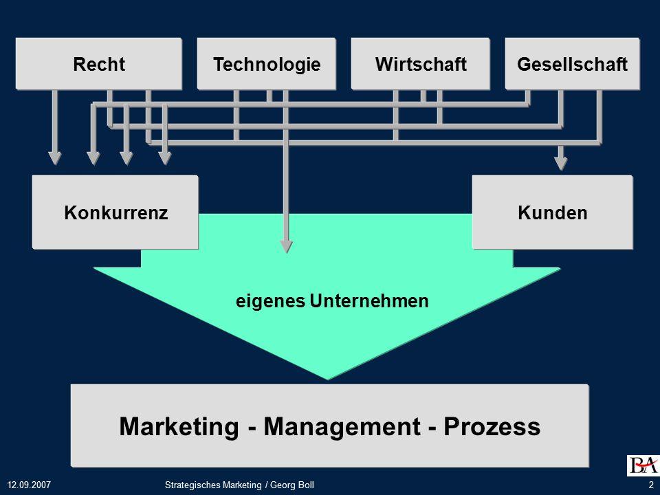 12.09.2007Strategisches Marketing / Georg Boll23 Unternehmenszielsetzung...
