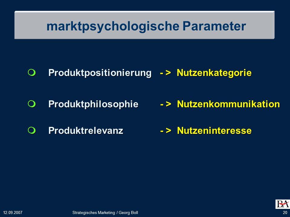 12.09.2007Strategisches Marketing / Georg Boll20 marktpsychologische Parameter  Produktpositionierung - > Nutzenkategorie  Produktphilosophie - > Nutzenkommunikation  Produktrelevanz - > Nutzeninteresse