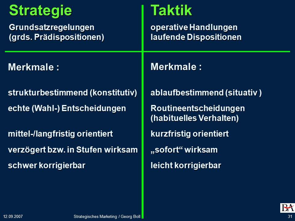 12.09.2007Strategisches Marketing / Georg Boll31 StrategieGrundsatzregelungen (grds.
