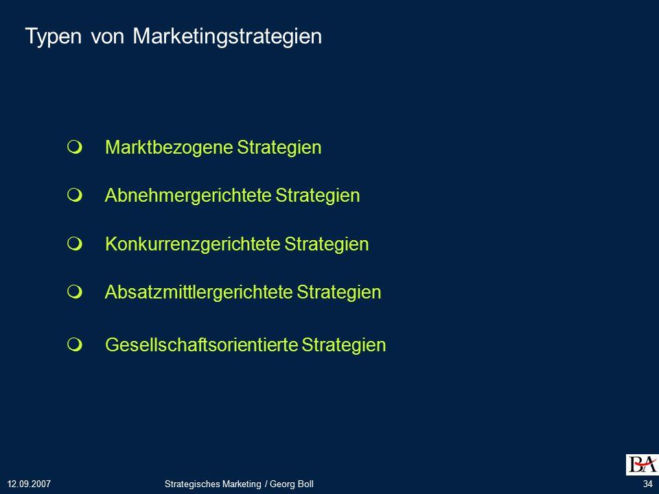 12.09.2007Strategisches Marketing / Georg Boll34 Typen von Marketingstrategien  Marktbezogene Strategien  Abnehmergerichtete Strategien  Konkurrenzgerichtete Strategien  Absatzmittlergerichtete Strategien  Gesellschaftsorientierte Strategien