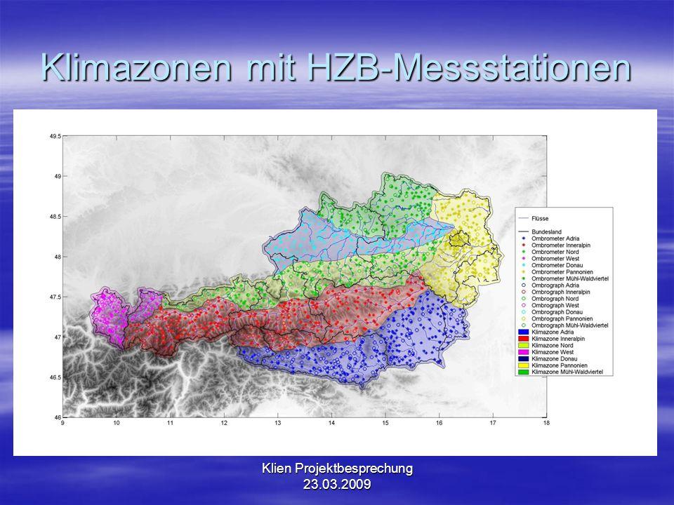 Klien Projektbesprechung 23.03.2009 Klimazonen mit HZB-Messstationen