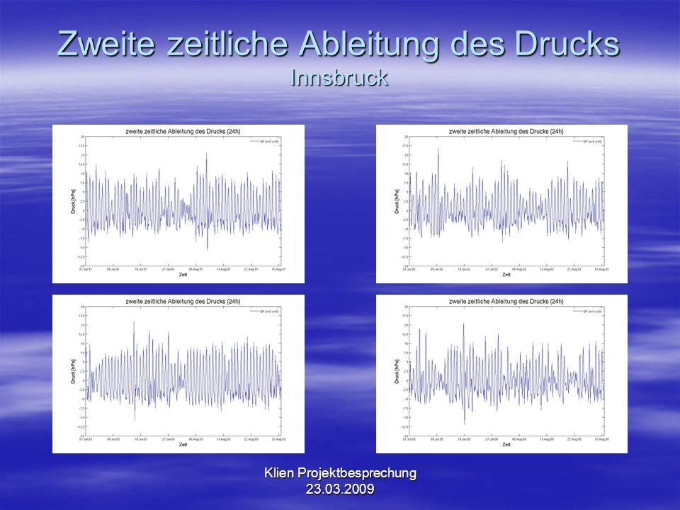 Klien Projektbesprechung 23.03.2009 Zweite zeitliche Ableitung des Drucks 80 km nördlich von Innsbruck