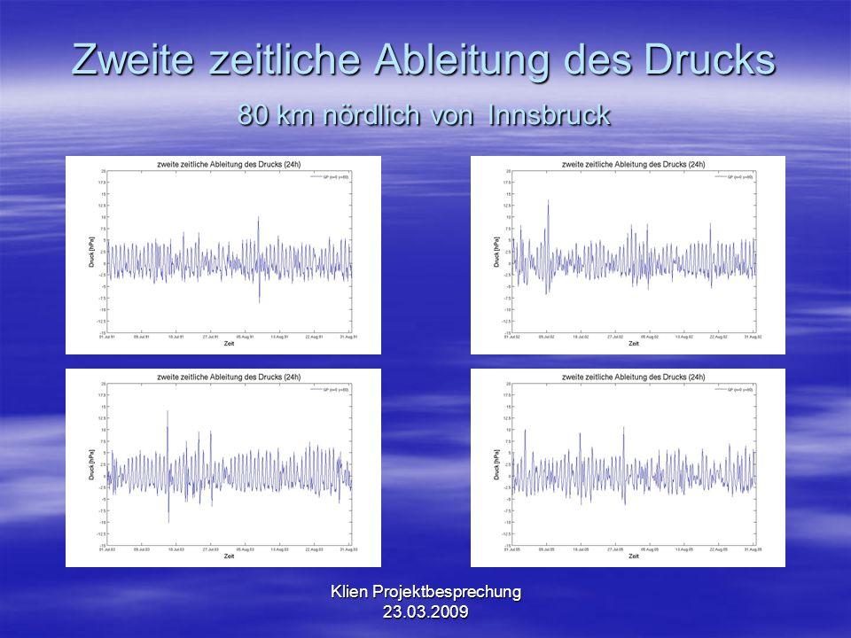 Klien Projektbesprechung 23.03.2009 Zweite zeitliche Ableitung des Drucks 176 km südlich von Innsbruck