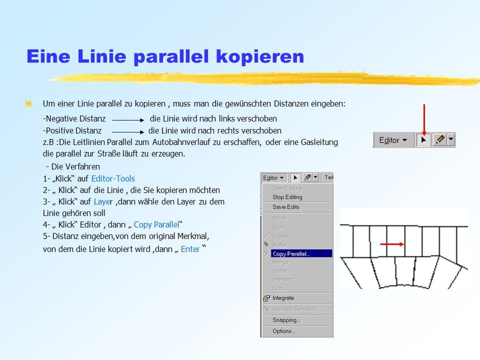 Eine Linie parallel kopieren zUm einer Linie parallel zu kopieren, muss man die gewünschten Distanzen eingeben: -Negative Distanz die Linie wird nach links verschoben -Positive Distanz die Linie wird nach rechts verschoben z.B :Die Leitlinien Parallel zum Autobahnverlauf zu erschaffen, oder eine Gasleitung die parallel zur Straße läuft zu erzeugen.