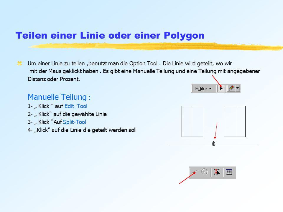 Teilen einer Linie oder einer Polygon zUm einer Linie zu teilen,benutzt man die Option Tool.
