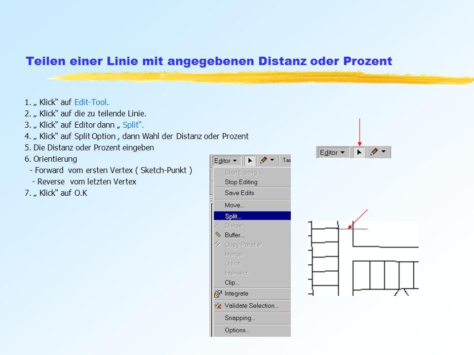 Teilen einer Linie mit angegebenen Distanz oder Prozent 1.