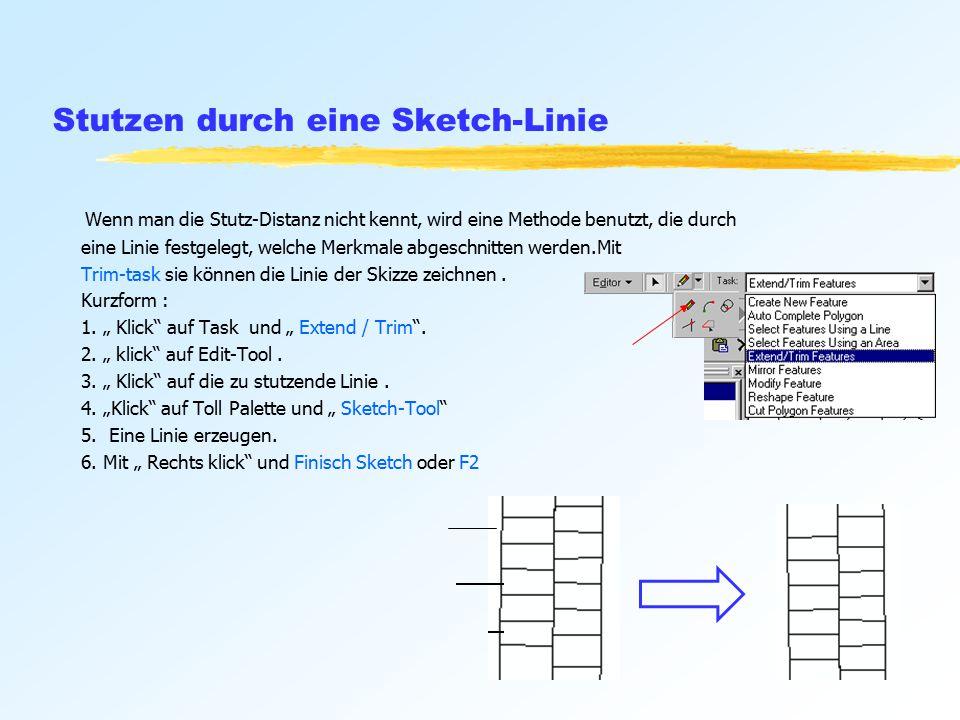 Stutzen durch eine Sketch-Linie Wenn man die Stutz-Distanz nicht kennt, wird eine Methode benutzt, die durch eine Linie festgelegt, welche Merkmale abgeschnitten werden.Mit Trim-task sie können die Linie der Skizze zeichnen.