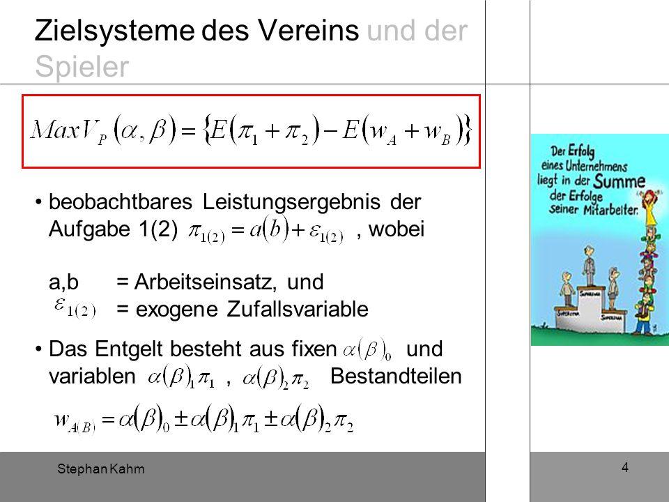 Stephan Kahm 4 Zielsysteme des Vereins und der Spieler beobachtbares Leistungsergebnis der Aufgabe 1(2), wobei a,b = Arbeitseinsatz, und = exogene Zuf