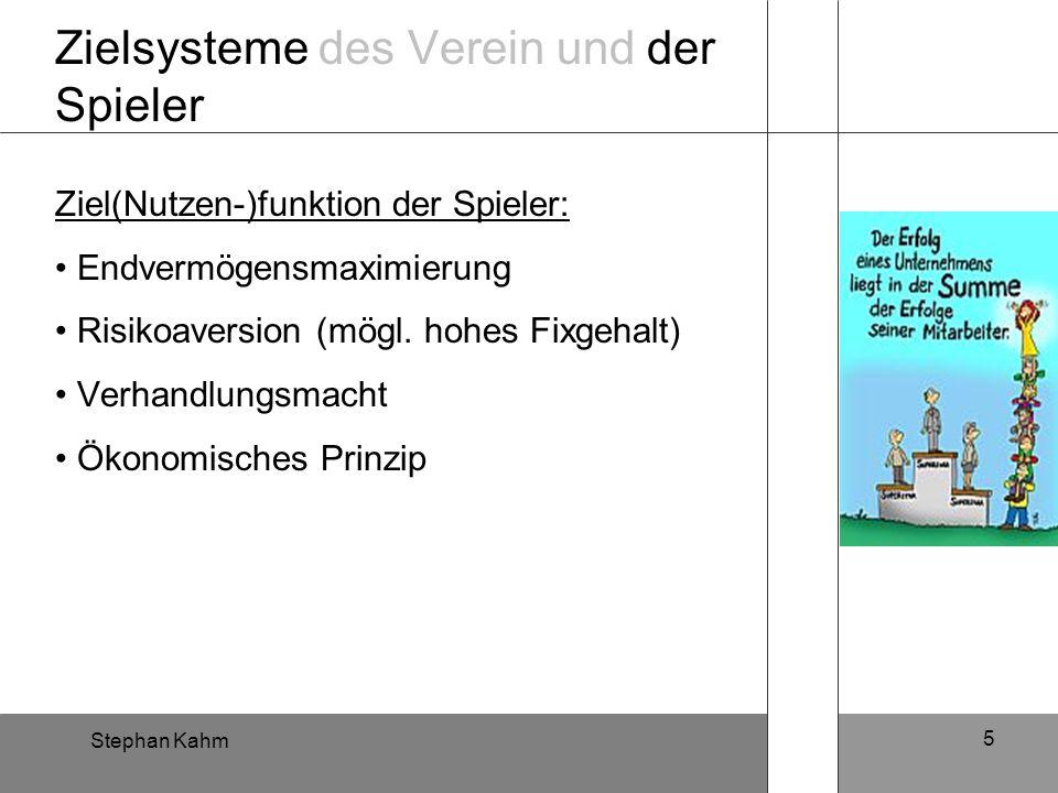 Stephan Kahm 5 Zielsysteme des Verein und der Spieler Ziel(Nutzen-)funktion der Spieler: Endvermögensmaximierung Risikoaversion (mögl. hohes Fixgehalt