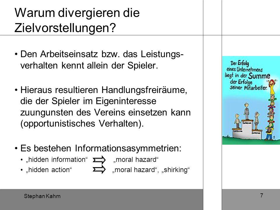 Stephan Kahm 7 Warum divergieren die Zielvorstellungen? Den Arbeitseinsatz bzw. das Leistungs- verhalten kennt allein der Spieler. Hieraus resultieren