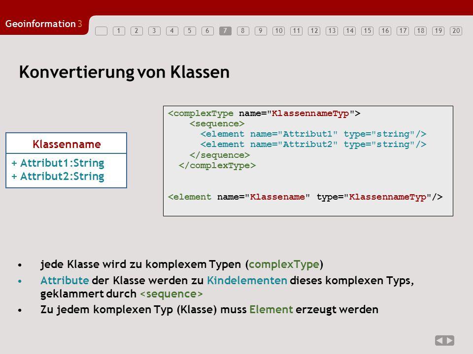 12347891011121314151617181920 Geoinformation3 567 Konvertierung von Klassen Klassenname + Attribut1:String + Attribut2:String jede Klasse wird zu komp