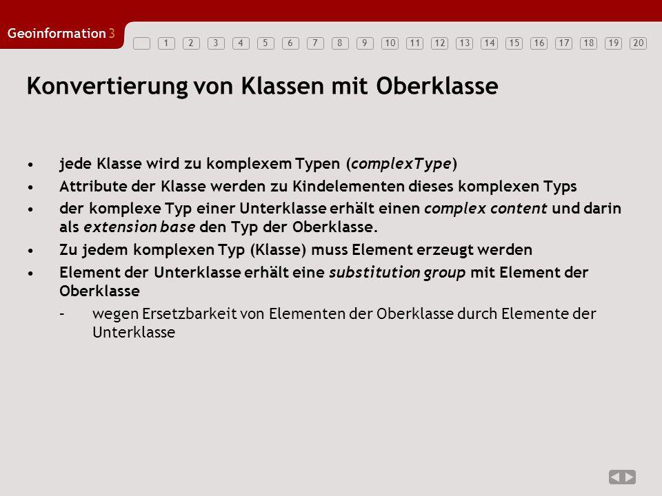 12347891011121314151617181920 Geoinformation3 56 Konvertierung von Klassen mit Oberklasse jede Klasse wird zu komplexem Typen (complexType) Attribute